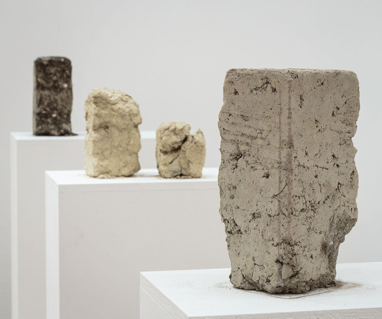 Alessandro Piangiamore | Tutto il vento che c'è (from left to right: Balinot, Montes, Ora), 2013, soil, wind, approx. cm 13x13×30 each.