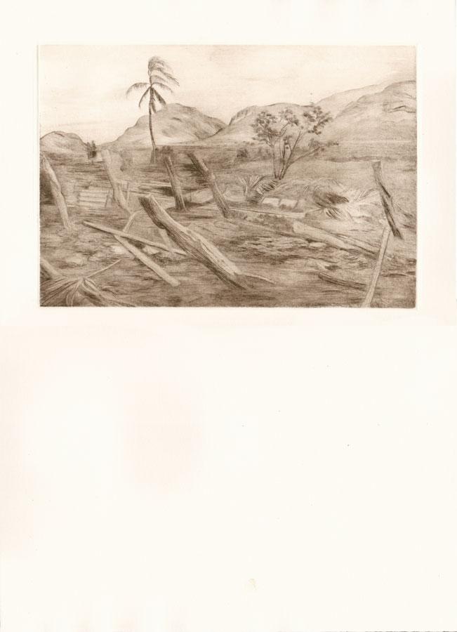 Alessandro Piangiamore | Tutto il vento che c'è (Bayamo) 2010-2014, etching, cm 31×40 . Edition of 3 + 2 AP