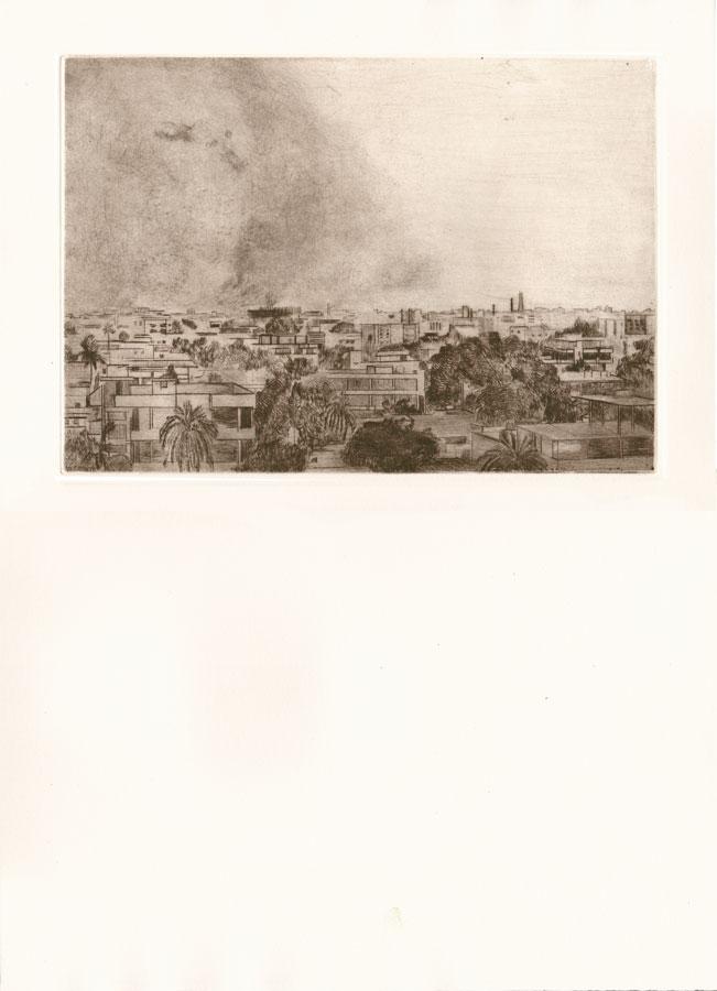 Alessandro Piangiamore | Tutto il vento che c'è (Haboob) 2010-2014, etching, cm 31×40 . Edition of 3 + 2 AP
