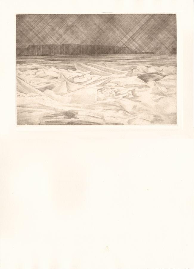 Alessandro Piangiamore | Tutto il vento che c'è (Košava) 2010-2014, etching, cm 31×40 . Edition of 3 + 2 AP