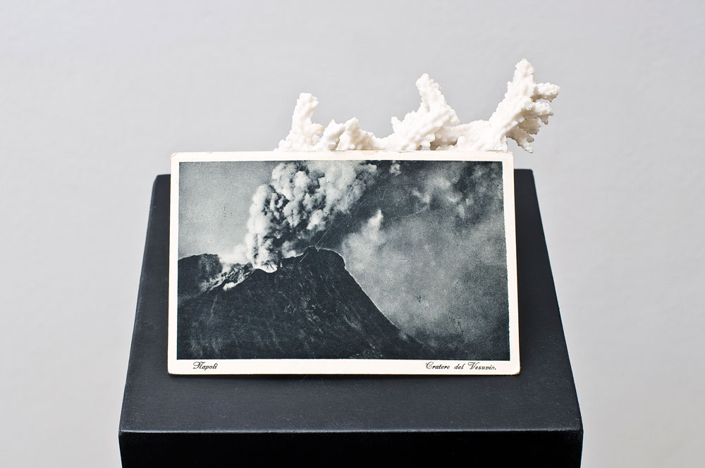Alessandro Piangiamore | Untitled (volcano), 2010, coral, postcard, wood pedestal, cm 18 x 18 x 100