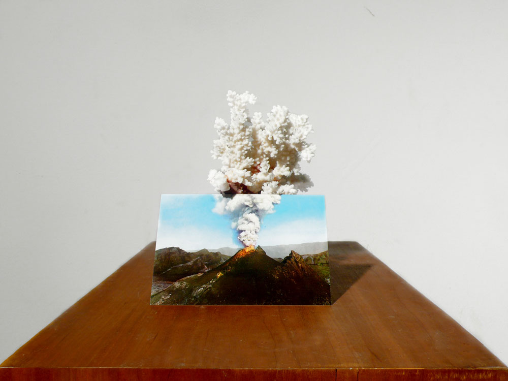 Alessandro Piangiamore | Untitled (volcano), 2012, coral, postcard, wood pedestal, cm 30 x 50 x 100
