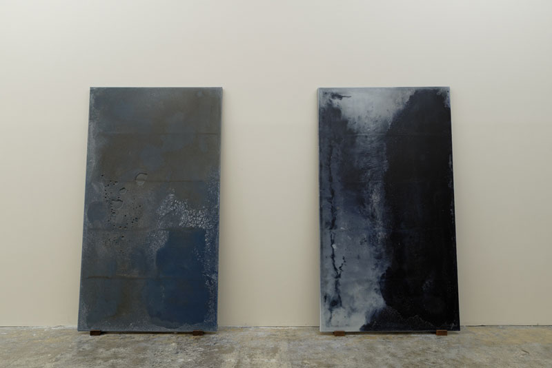 Alessandro Piangiamore | (from left) La cera di Roma #5 (again), 2012-2014; La cera di Roma #12 , 2014. Melted beeswax and paraffin candles. cm 203 x 113 x 4,5 each.