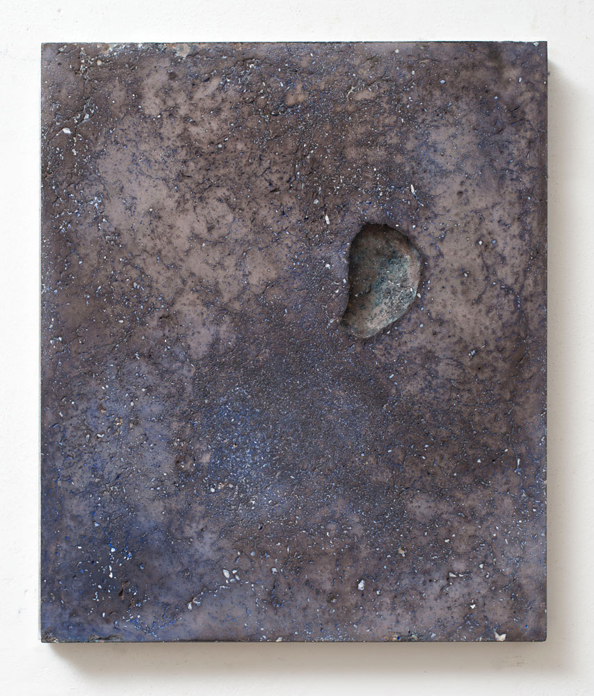 Untitled (daily) #1 2013 Concrete, mother of pearl powder, blue shoe polish, wax, cm 30 x 46 x 3