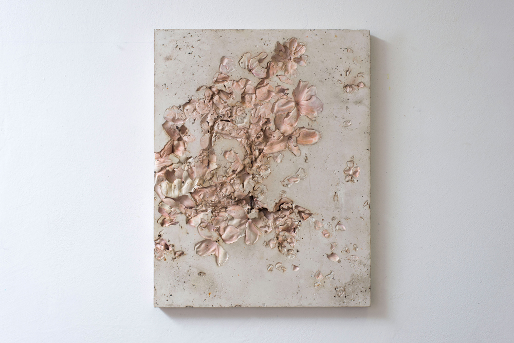 Untitled (daily with flowers), 2015.  Plaster, pigment, metal, cm 64x50x3