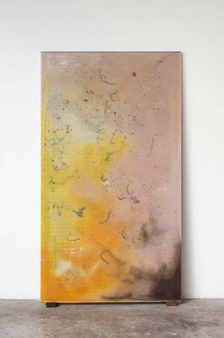 La XVII cera di Roma (G, fucsia flyes), 2015. Melted beeswax and paraffin candles, metal, cm 203 x 113 x 2,5